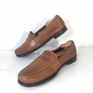 Cole Haan Stitched Leather Tan Penny Loafers 10.5M
